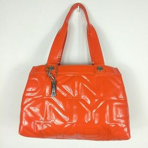 DKNY Orange Patent Faux Leather Tote Bag